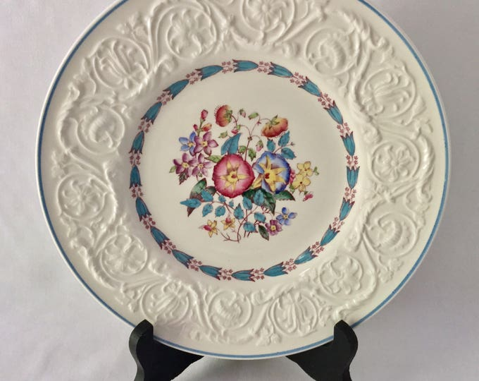 Wedgwood Patrician Morning Glory Salad Dessert Plate Blue Rim PERFECT