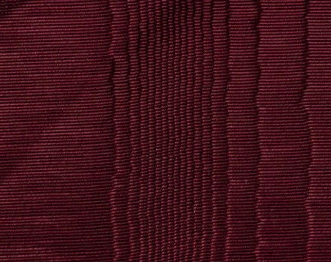Moire Fabric Ruby Red Cotton Blend Upholstery Drapery Heavy Lining Fiber Art Crafting