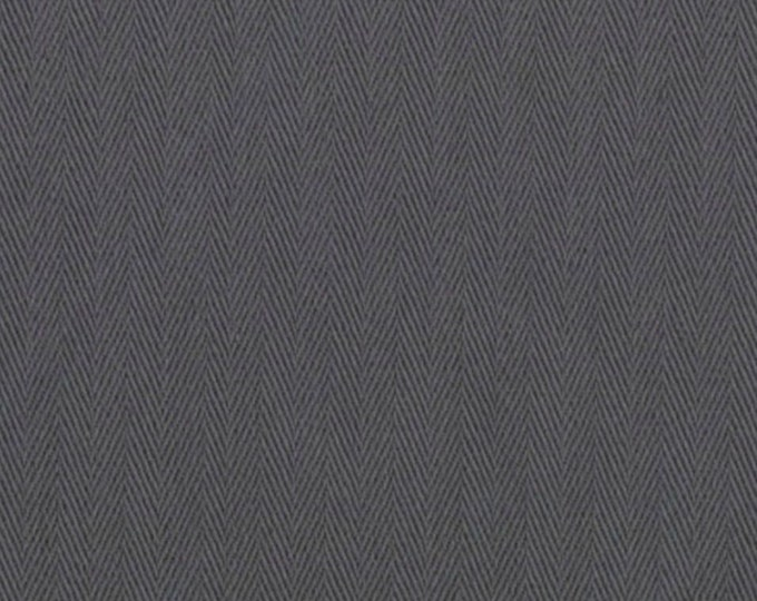 Charcoal Gray HERRINGBONE Cotton Fabric PRESHRUNK Ideal For Slipcovers Drapery Apparel Bags QUALITY