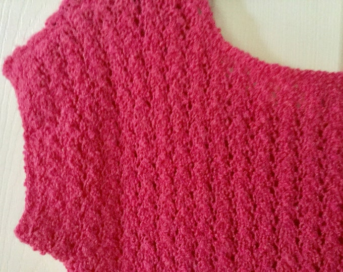 Handmade Knit Dress Signed Label Gorgeous Rich Pink Medium