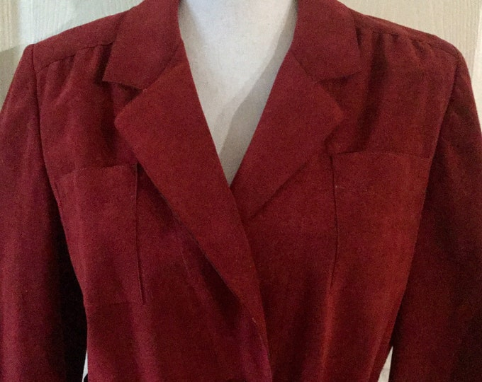 Vintage Genuine Ultrasuede Adele Simpson Belted Shirt Dress Size Large Cranberry Red