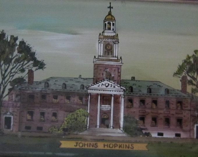 Original Antique Johns Hopkins University Teaching Hospital Baltimore Reverse Painting