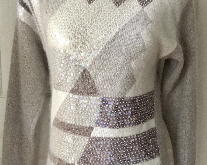 Vintage Abstract Geometric Sweater Sequins Neutral Cream Taupe Beige Petites