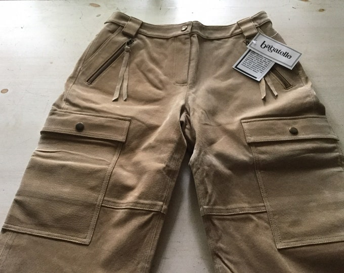 Rare New Old Stock Bagatelle Genuine Suede Cargo Gaucho Crop Pants Coulotte Original Tags Capris