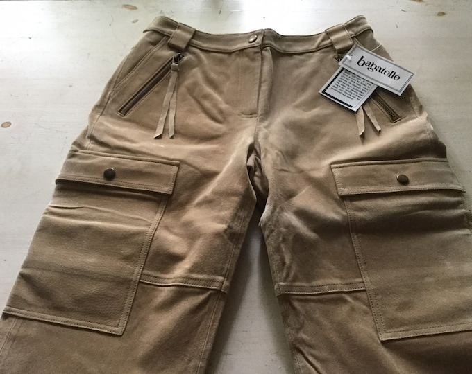 Rare New Old Stock Bagatelle Genuine Heavy Suede Cargo Gaucho Crop Pants Coulotte Original Tags Capris