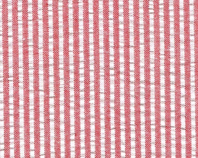 Red White Stripe Cotton Seersucker Fabric Yarn Dyed By the Yard