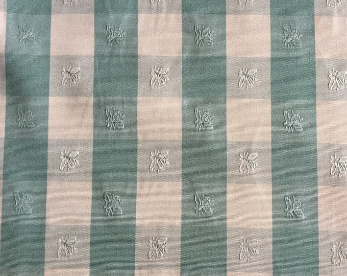 French Country Sage Green Cream Buffalo Check Designer Upholstery Fabric With Embroidered Bees