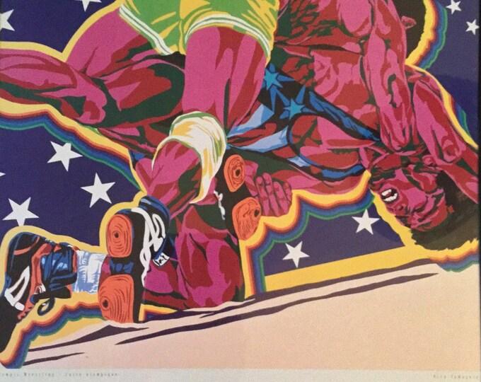 Hiro Yamagata Wrestling Art Print Centennial Olympic Games Atlanta 1996 PRISTINE Wrestler Athletic Match