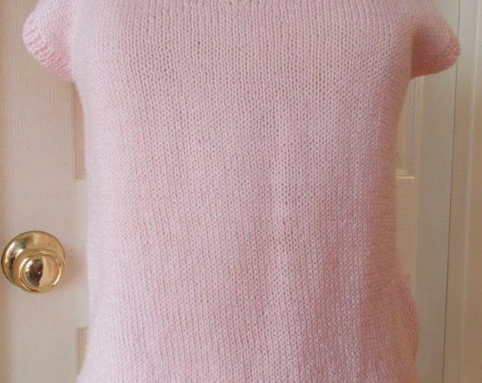 Soft Pink Hand Knit Top Short Sleeve Sweater Vest Size Medium
