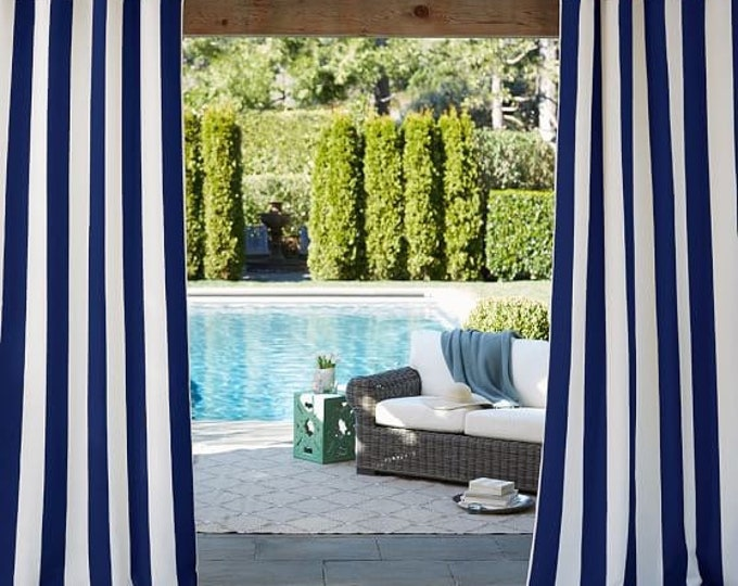 Indoor Outdoor Fabric Royal Blue and White Awning Stripe For Upholstery Drapery Bags Awnings Crafts