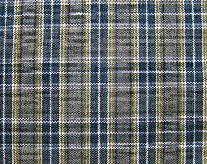 Blue Gray Plaid Fabric Upholstery Home Decorating Crafts Apparel