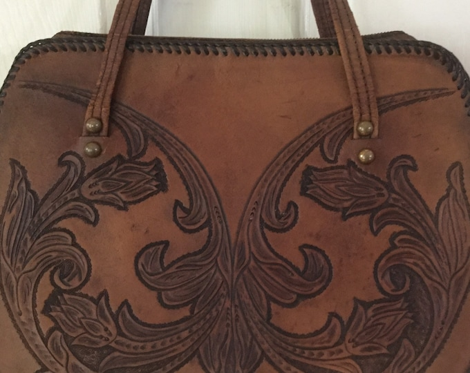 Vintage Late 40s Early 50s Large Tooled Leather Satchel Handbag