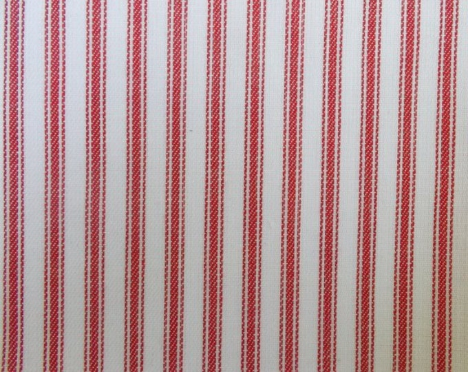 Red White Ticking Stripe Fabric Yarn Dyed Holiday Crafts Cotton Home Decor Apparel Drapery