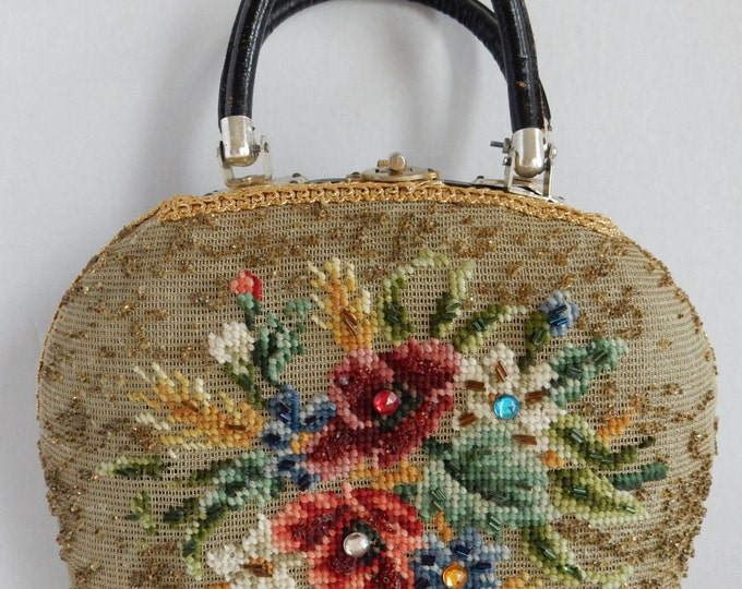 Vintage Faye Mell Needlepoint Beaded Floral Purse Black Patent Leather Vinyl Handbag