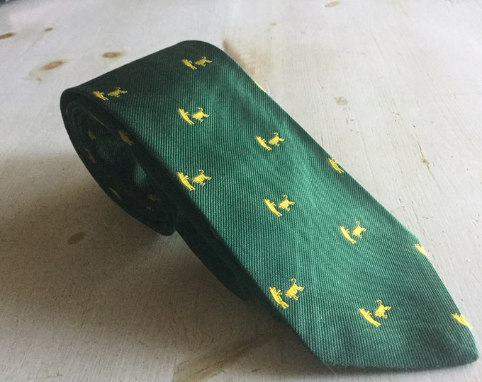 Vintage Brooks Brothers Makers Bulls and Bears Silk Necktie Green Gold Stock Market Tie