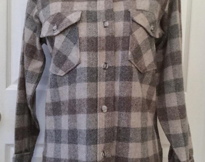 Vintage 1960s Womens Eddie Bauer Buffalo Check Wool Shirt Gray Tan Brown Small/Medium PRISTINE CONDITION
