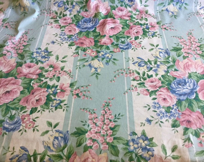 Vintage Schumacher Waverly Glosheen Chintz Floral Drapery Fabric Blue Yellow Pink Aqua Rose