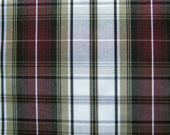 Black Khaki Wine Plaid Fabric Upholstery Slipcover Apparel Crafts