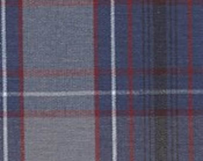 Blue Gray Red White Plaid Fabric Home Decorating Crafting School Uniform