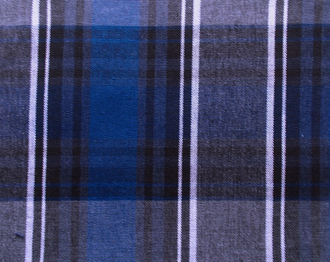 Royal Blue Gray Plaid Cotton Drapery Apparel Crafting Fabric Uniforms Home Decor Crafts