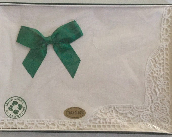 New Old Stock Irish Linen Tray Cloth White Lace Wedding Original Box Gift Quality