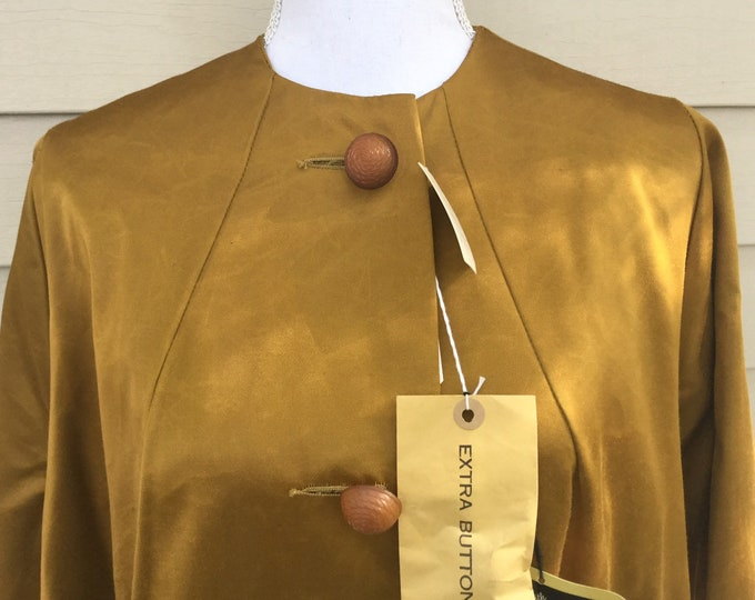 Genuine 1950s Swing Coat Amber Gold XL New Old Stock ORIGINAL STORE Tags