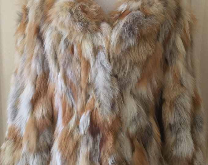 Genuine Natural Red Fox Fur Jacket Made in Sweden Size Small Medium Coat