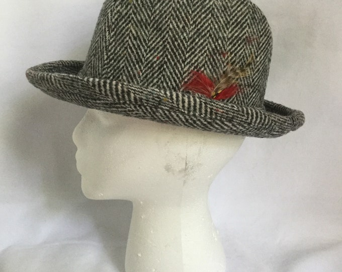 Mens Vintage Hat Gray Herringbone Wool Tweed Fedora Artel Made In USA