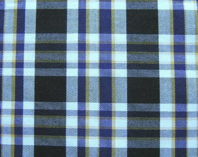 Black White Purple Plaid Fabric UPHOLSTERY Home Decorating Apparel CRAFTS