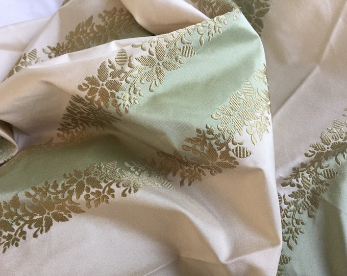 Genuine Pure Silk Brocade Fabric Green Cream Stripes Fine Gold Embroidered Florals GORGEOUS
