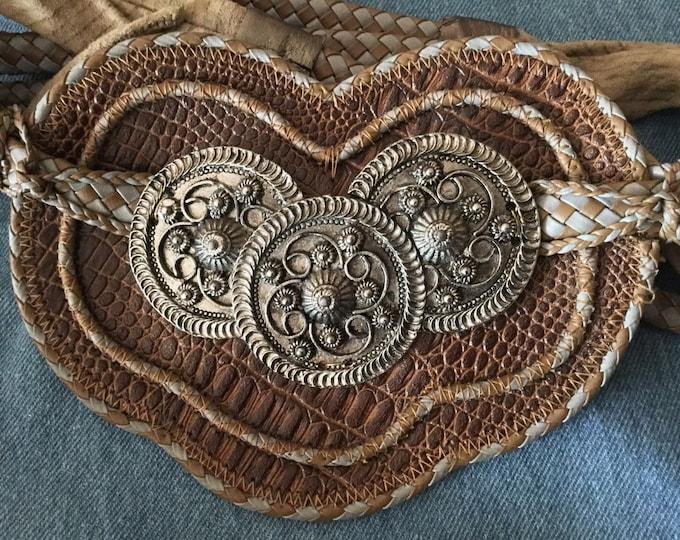 Fabulous Designer Lisandro Sarasola Large Leather Heart Sash Belt Braided Silver Medallions Snakeskin