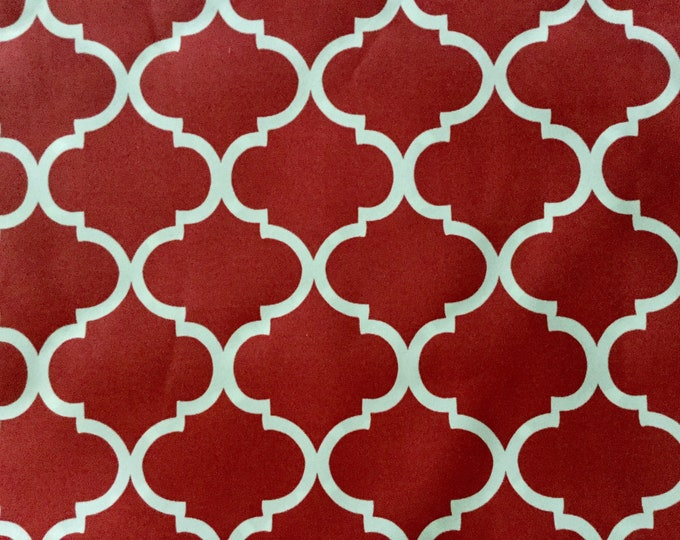 Indoor Outdoor Fabric Red White Trellis For Upholstery Drapery Bags Crafts