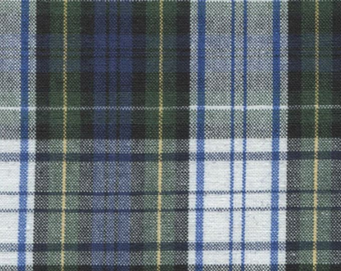 Blue Green White School Uniform Plaid Tartan Cotton Fabric Apparel Crafts Quilting Home Decor