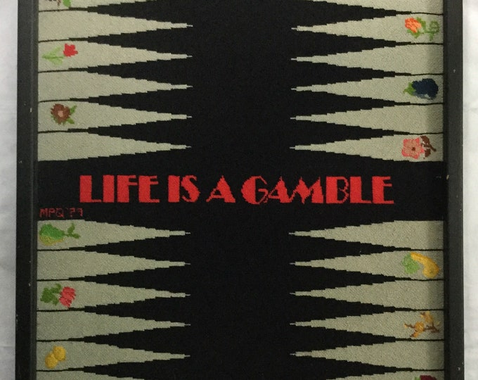 Framed Signed Needlepoint Backgammon Art Sign Life Is A Gamble Wall Hanging