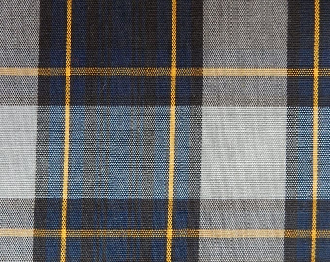 Navy Blue Gray Gold Black Plaid Fabric Apparel Home Decorating Quilt Drapery School Uniform