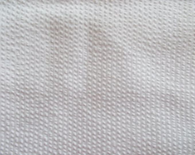 Striped Seersucker Fabric White on White Cotton Blend For Apparel Home Decor