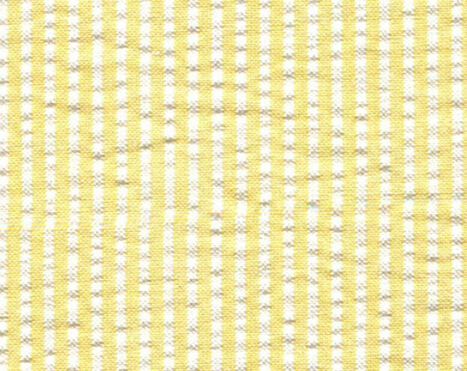 Yellow And White Stripe Seersucker Fabric Cotton Blend Clothing Home Decor Shower Curtains