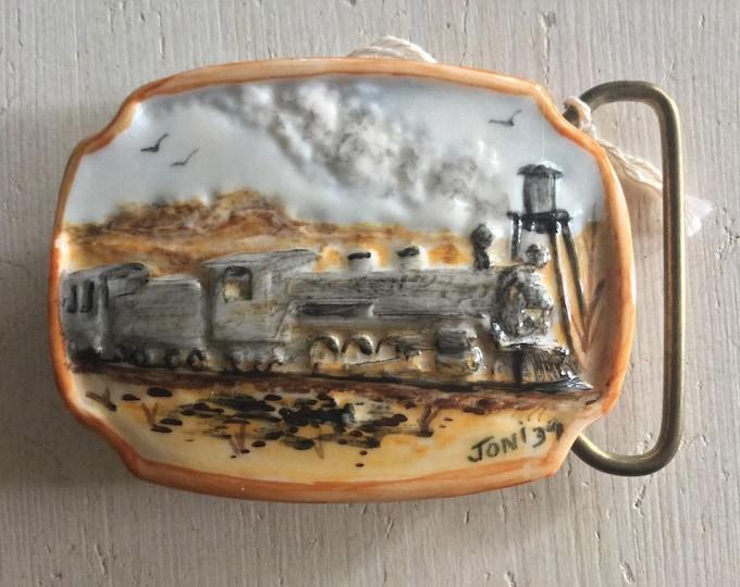 Beautiful 1939 3 Dimensional Hand Painted Porcelain Train Belt Buckle Locomotive Railroad Artist Signed