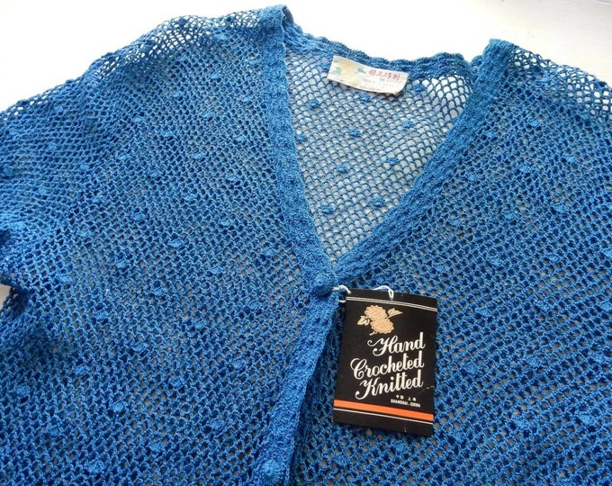 Something Old AND New AND Blue Hand Made Crochet Bridal Cardigan Sweater Deadstock Old Stock Vintage