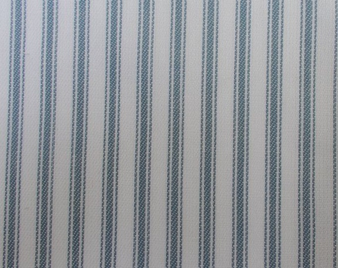 Light Blue White Ticking Stripe Fabric Cotton For Apparel Home Decor Crafts