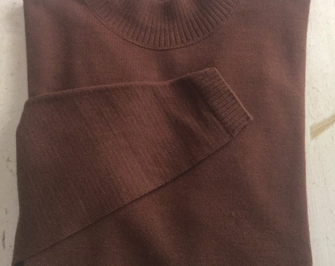 Vintage Womens Pendleton Medium Pure Virgin Wool Mock Turtleneck Wool Sweater Nutmeg Brown PRISTINE