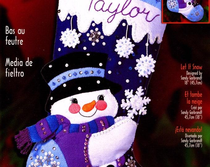 Retired 2001 Bucilla Large Felt Christmas Stocking Kit Snowman Sandy Garbrandt Design