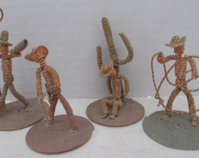 Vintage Sculpture Wire Cowboy Set Whimsical Western Americana Figurines Wild West Folk Art Funny