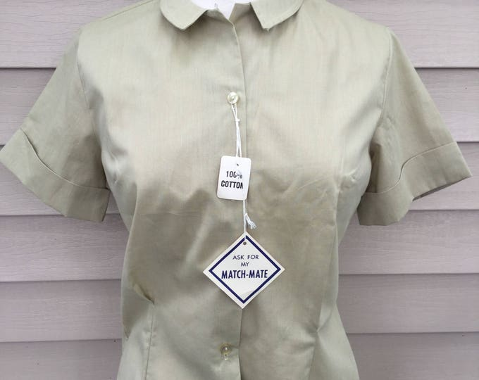 New Old Stock 1950s Wash and Wear Cotton Blouse Original Hang Tags Dan River