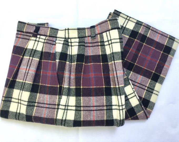 Beautiful Vintage PENDLETON Culloden Dress Modern Wool Tartan Slacks Pants XXS 24 Inch High Waist