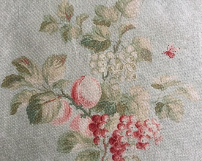 Braemore Light Green Cream Fruit Blossom Upholstery Fabric Butterflies Bees Pink Red Multipurpose Linen