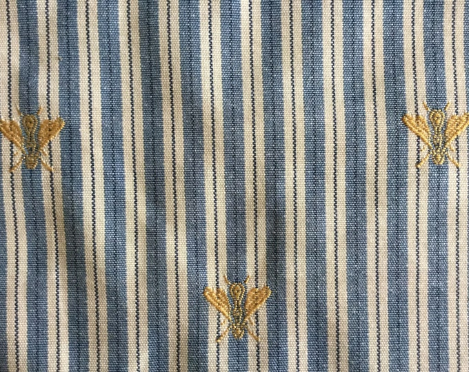 Denim Blue Cream Stripe Fabric French Country Embroidered Bees For Upholstery Pillows Bags MULTIPURPOSE Brocade