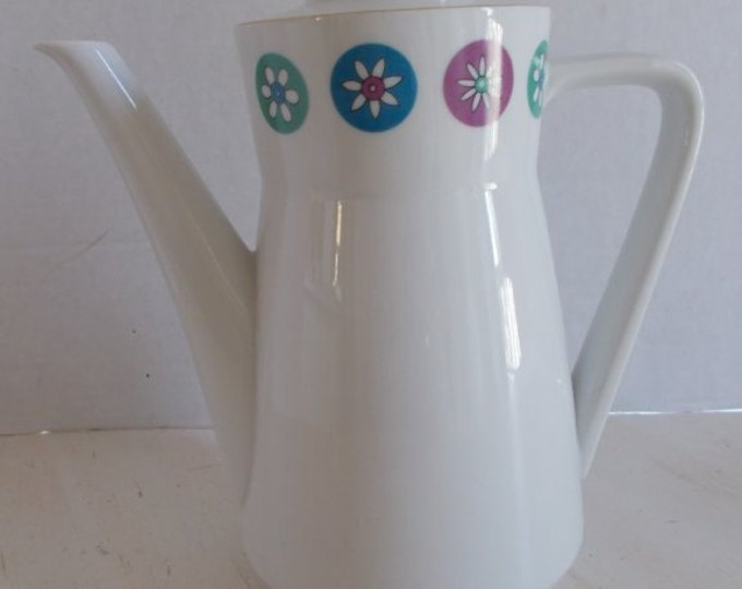 Mid Century Seltmann Bavaria Cora Porcelain China Coffee Pot FLOWER POWER