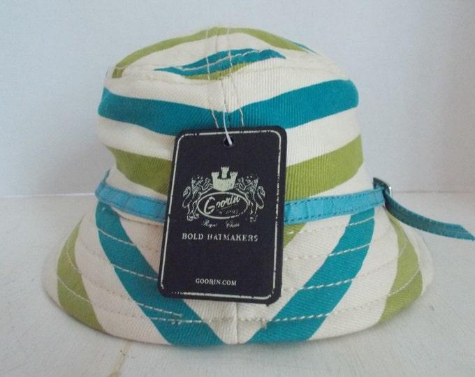 Vintage Goorin Cotton Bucket Sun Hat With Original Tag Turquoise Leather Band Size Medium Retro