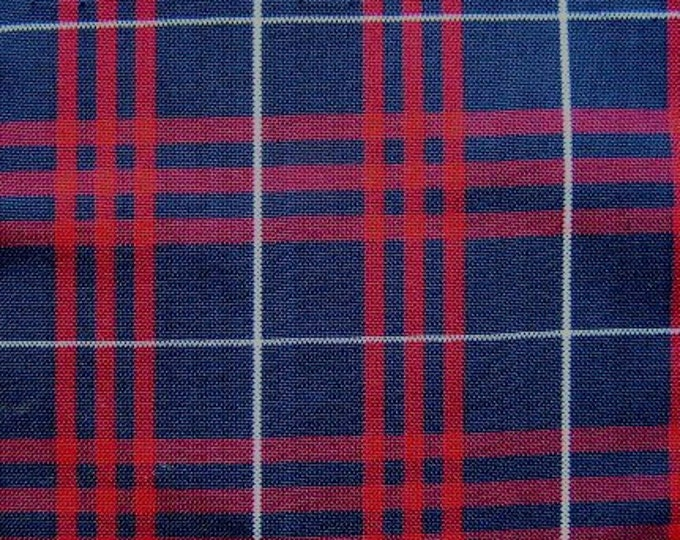 Navy Blue Red Plaid Fabric UPHOLSTERY APPAREL Home Decorating CRAFTS